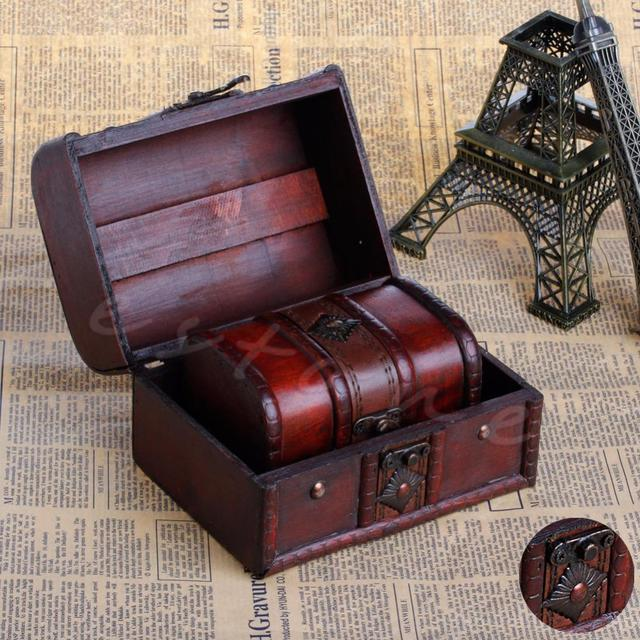 Etonnant 2pcs Chic Wooden Pirate Jewellery Storage Box Case Holder Vintage Treasure  Chest