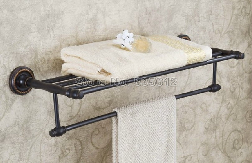 Black Oil Rubbed Brass Bathroom Brief Towel Rack With