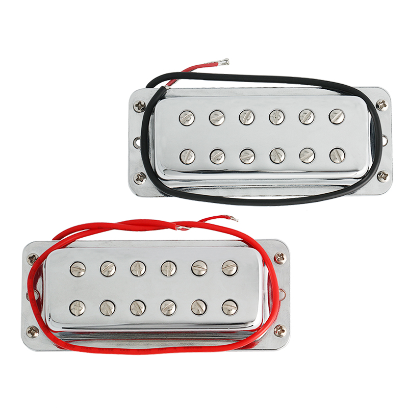 Mini Humbucker Pickup Double Coil Pickups Bridge and Neck Set for Electric Guitar Parts Replacement Chrome belcat electric guitar pickups humbucker double coil pickup guitar parts accessories bridge neck set alnico 5 gold