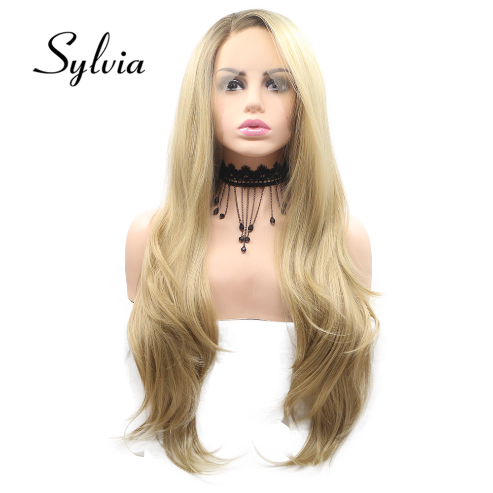 Sylvia Blonde Synthetic Lace Front Wigs  Body Wave Side Part Long Heat Resistant Fiber Hair For Women
