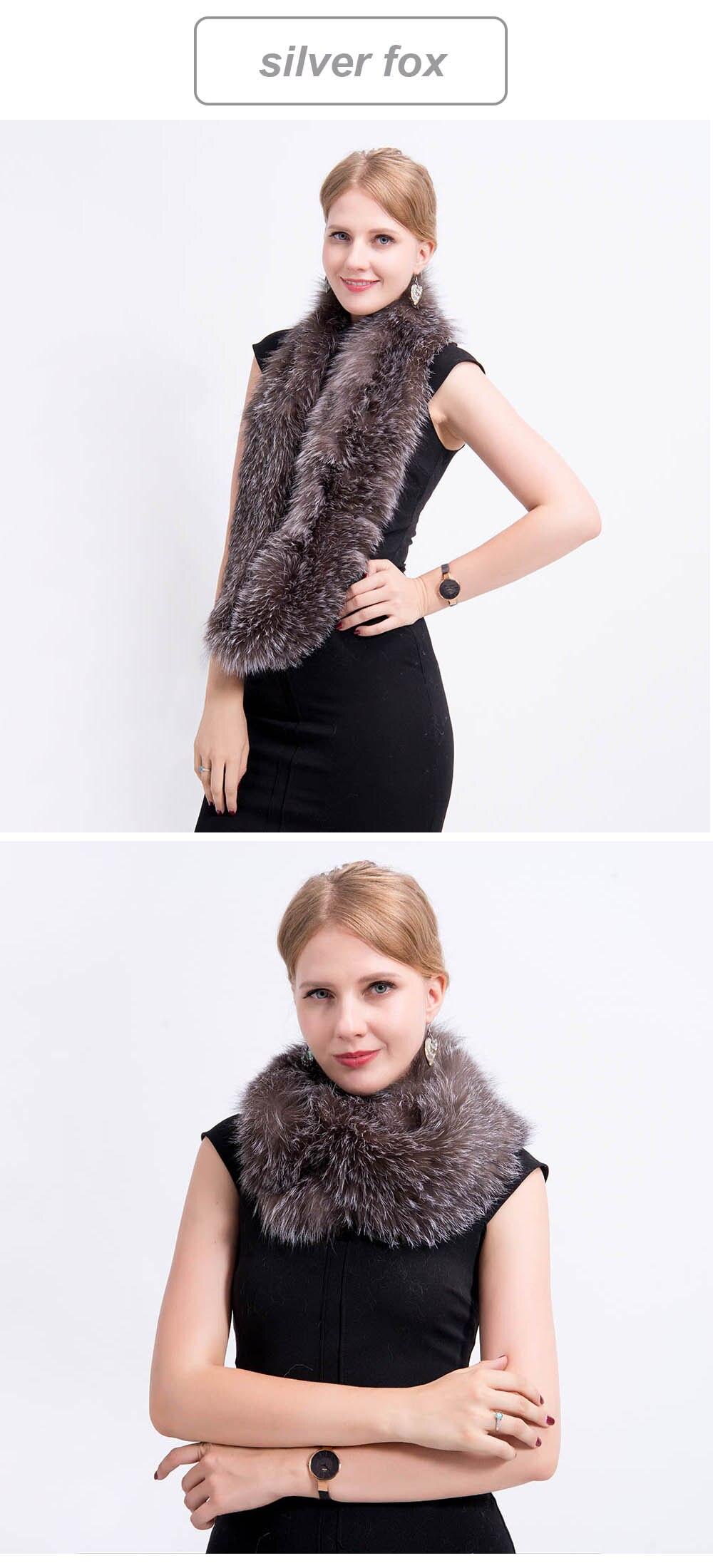 knit fox fur scarf silver fox 2