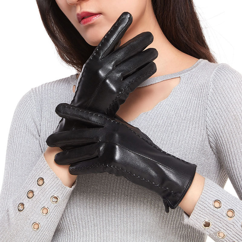 High Quality Leather Gloves Women Fashion Winter Soft Warm Black Glove Women Touch Screen Phone Driving Gloves Size 24cm