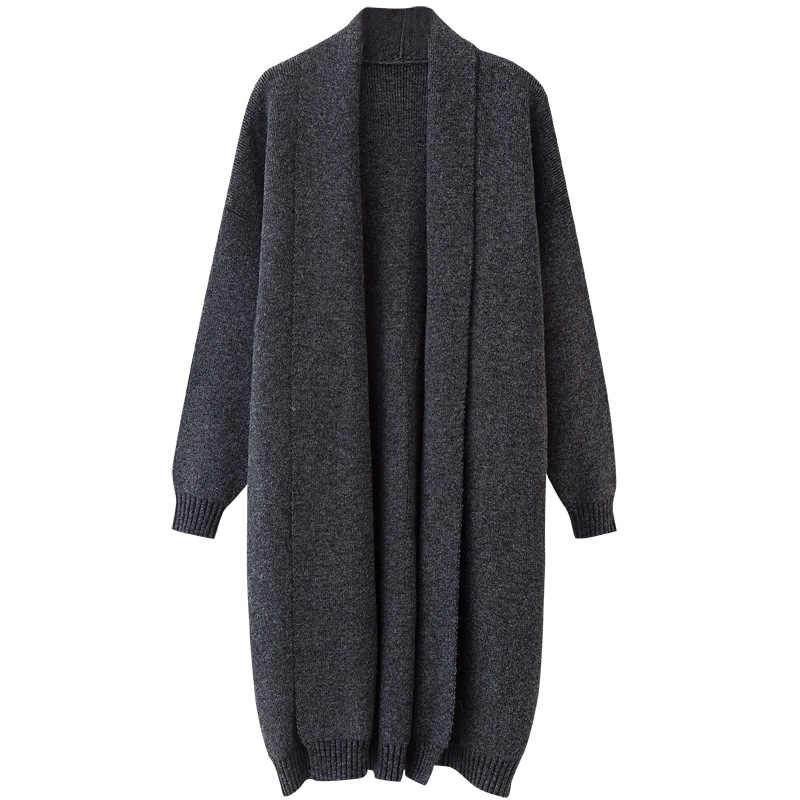Women Long Cardigan Brief Knitted Shawl Collar Cardigans Sweater
