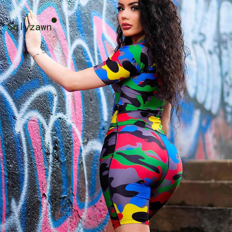 Camouflage Print Sexy Short Playsuit Women Front Zipper Short Sleeve Bodycon Jumpsuit Streetwear Stand Collar One Piece Overalls