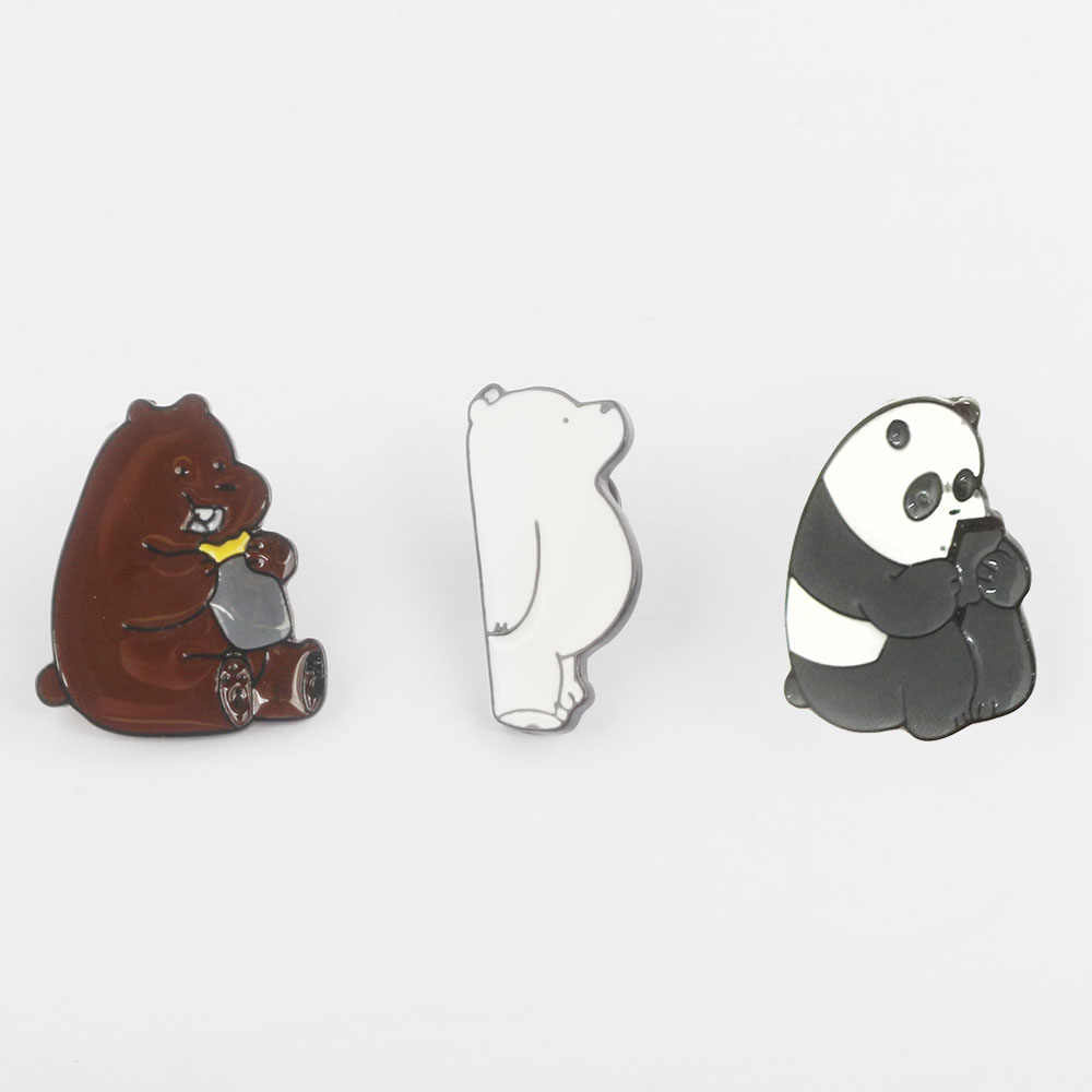 4ea9c95affe2 RJ New 3 Style We Bare Bears Brooches Pins Cartoon Grizzly Panda Ice Bear  Toy Enamel