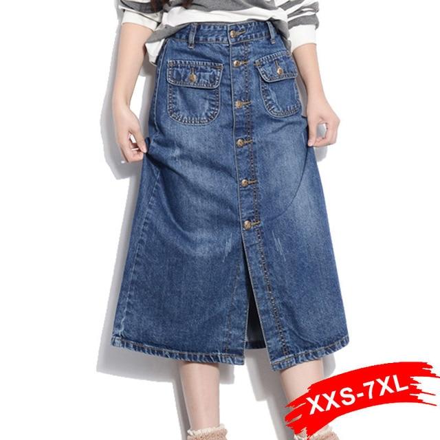High Waist Plus Size Button-Up Long Denim Straight Skirt 16 18 20 4Xl 5Xl 6Xl 7Xl Light Wash Blue Denim Skirts With Pockets