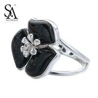 SA SILVERAGE Silver Ring Women Black Aventurine Gemstone Flower Rings For Women Real Pure 925 Sterling