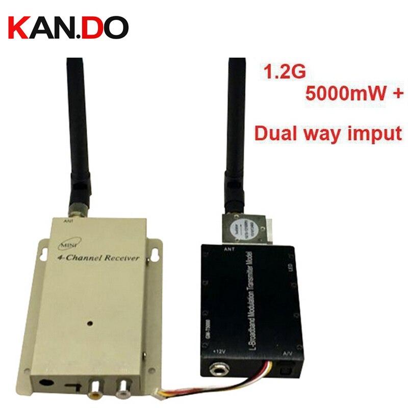 5W+ dual way video input 1.2G transceiver,1.2G CCTV transmitter DRONE transmitter,1.2G Video Audio FPV Transmitter Receiver
