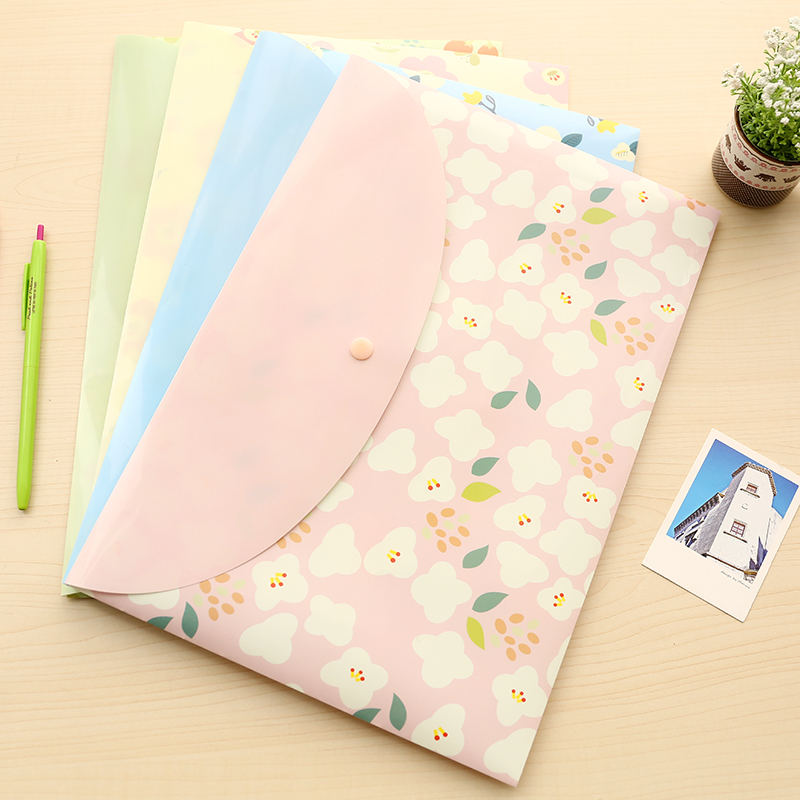 Students Cute A4 Paper Envelope Beautiful Flowers Transparent Office Stationery Snap Fastener Bags