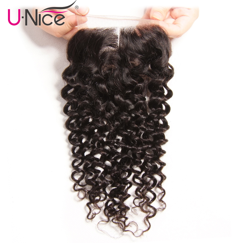 UNICE HAIR Company Indian Curly Hair Lace Closure Middle Part Remy Human Hair Closure Swiss Lace