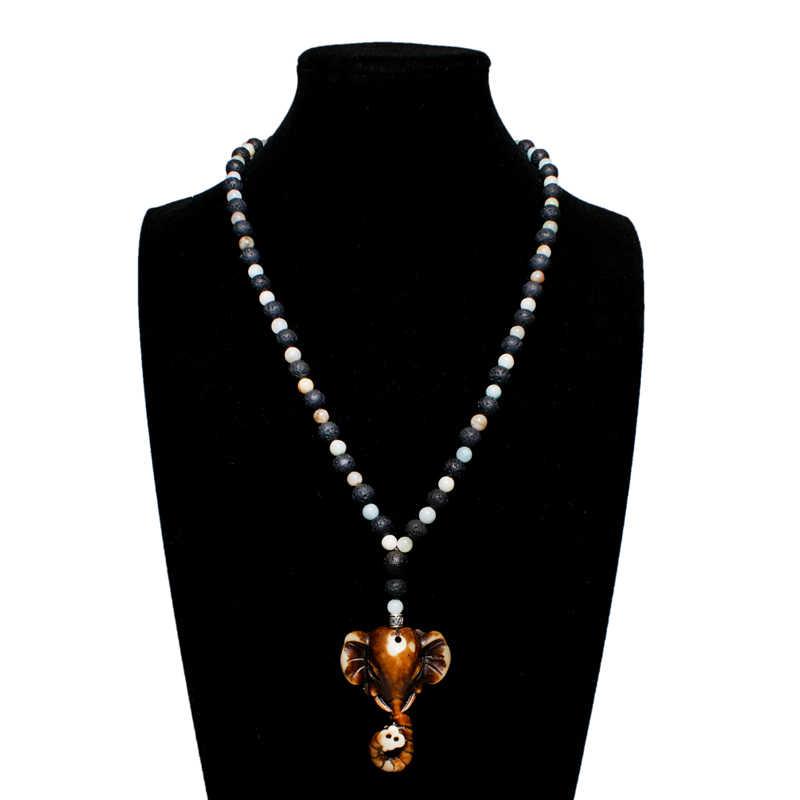 MOON GIRL 8MM Lava Stone Diffuser Fashion Necklaces Pendants Elephant Boho Amazonite Beads Long Necklace for Women Men Dropship