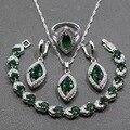AAA + Качество Зеленый Создания Изумрудный Стерлингового Серебра 925 Четыре Шт Комплект Ювелирных Изделий Серьги Кулон Ожерелье Кольцо Для Женщин JS92