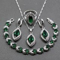 AAA + Calidad Verde Esmeralda Creado Joyería de Plata de Ley 925 de Cuatro Piezas Conjunto de Colgante, Collar Pendientes Anillo Para Las Mujeres JS92