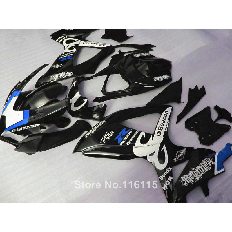 Injection fairing kit for SUZUKI K8 GSXR 600 700 2008-2010 GSXR600 GSXR750 08 09 10 black blue Beacon ABS motobike fairings JL33