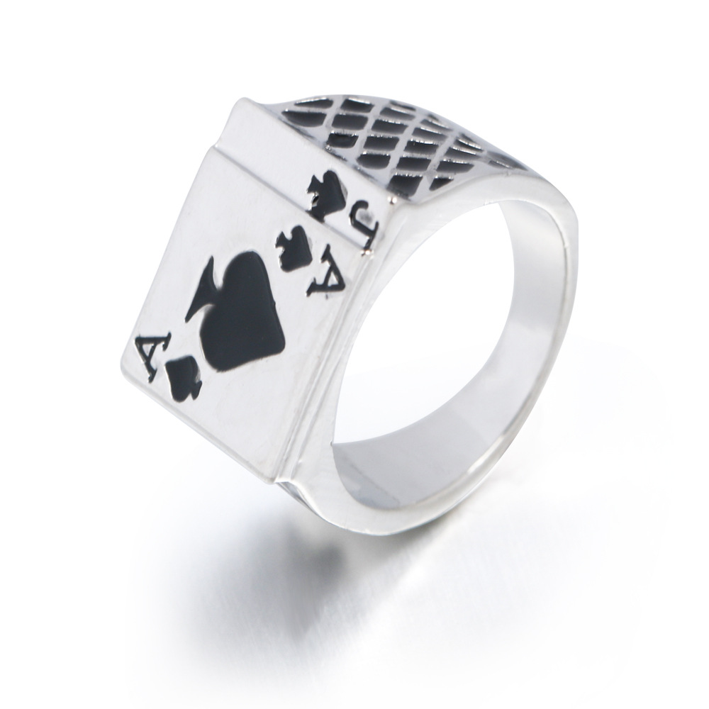 2019 Men's Ring Vintage Personality Spades A Heart Shaped Poker Rings For Men Jewelry Silver Color male Ring