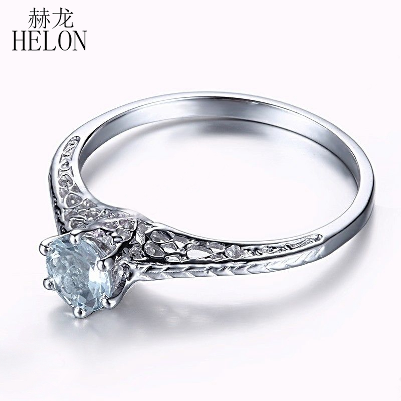 HELON Natural Aquamarine 4.5mm Round Engagement Ring Art Deco Vintage Style 925 Sterling Silver Wedding Ring Fine Jewelry Women серьги art silver art silver ar004dwzmh30