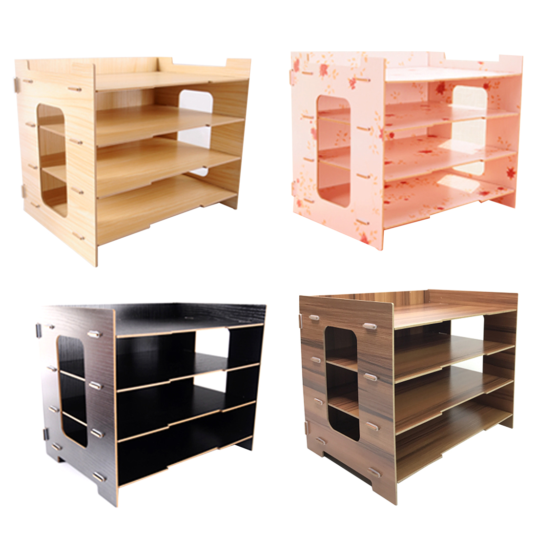 iTECHOR Four-layer Tabletop Wood Storage Rack Durable Office Sill Simple Desktop Organizer Shelf for Books Documents