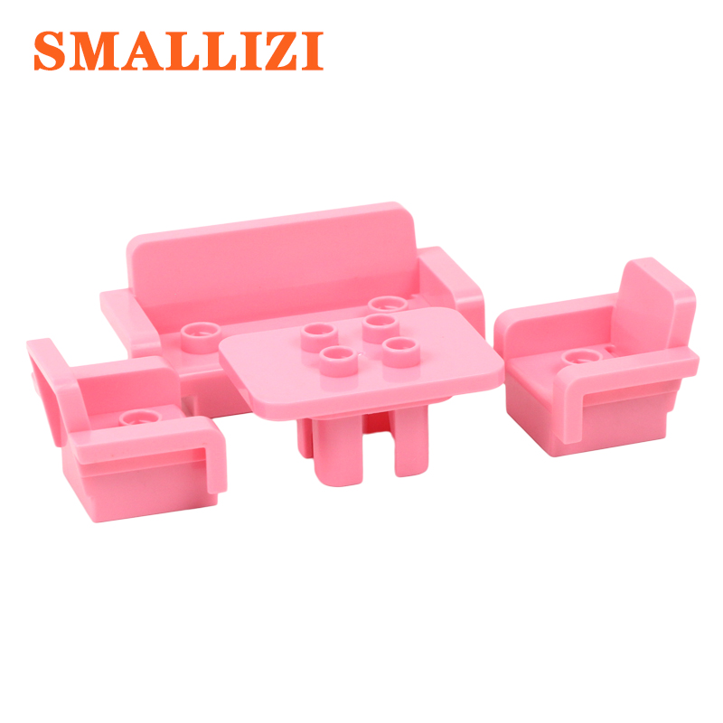 Furniture Sofa Table Chair Accessories Building Blocks Self-locking Bricks Parts Compatible With Duplo Educational Toy For Kid