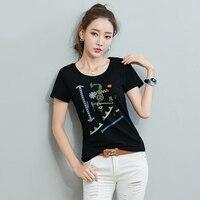 Tee Shirt Femme Womens Tops Korean Graphic Tees Women T Shirt Cotton 2017 Summer T Shirt