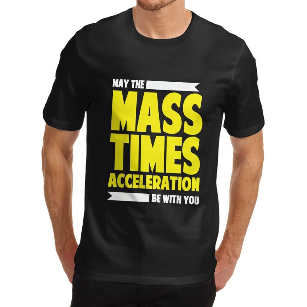 Rude Top Tee Round Neck Men'S Mass Times Acceleration Star Wars Funny T Shirt White Medium T Shirt Short Sleeve