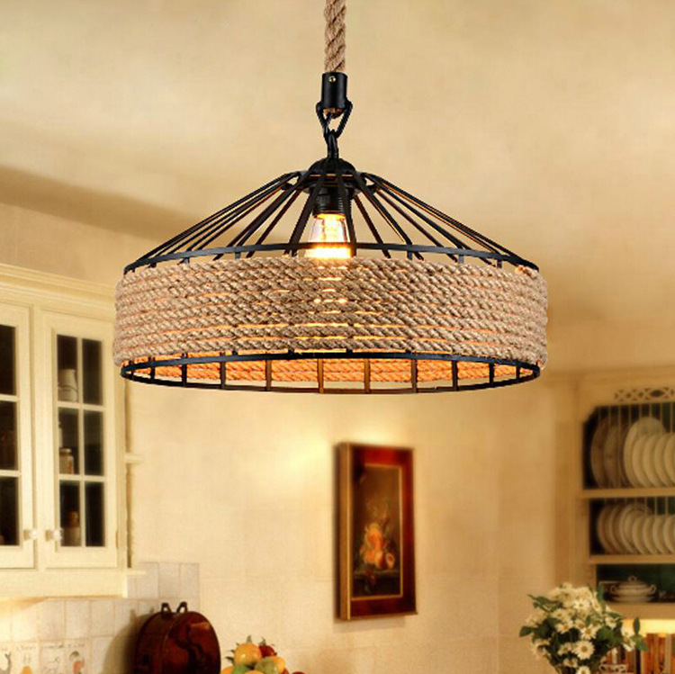 Vintage Retro American country industrial lid rope pendant light restaurant cafe bar hanging light modern wood pendant light black white retro droplight bar cafe bedroom restaurant american country style hanging lamp dia 30cm