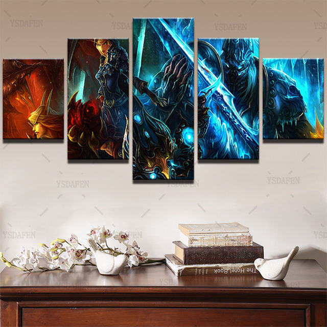 Wall Art Canvas Paintings Living Room Decor 5 Pieces World Of Warcraft Pictures HD Printed Framed Game Warrior Soldiers Posters 3