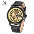 Brand Name SHENHUA  Men Casual Sports Mechanical Watches Leather Band Automatic Self-wind Skeleton Wrist Watches For Men Reloj