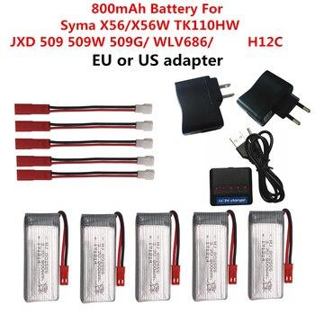 3,7 V batería de 800mAh para Syma X54HC X54HW X56W TK110HW JXD509/509 w/509g/WL V686 H12C recambios de cuadrirrotor RC Accesorios
