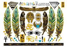 A6080-001 Big Gold Golden Tatuagem Taty Body Art Temporary Tattoo Stickers Egypt Style Feather Vintage Glitter Tatoo Sticker