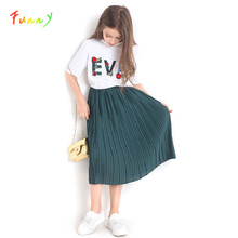 Büyük kız elbise seti 8 10 12 14 yıl nakış mektubu yazlık T shirt + etek 2 adet kız giyim seti Vetement enfant Fille