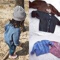 Дети осень зима сплошной цвет пальто толстые cardigans мальчики грубая вязаная мода повседневные куртки топы дети теплая одежда