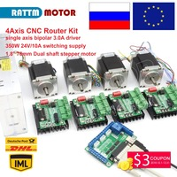 EU/Russia Delivery! 4Axis CNC Router Kit 4 axis TB6560 driver&interface board&Nema23 270 Oz in stepper motor & 350W Power supply