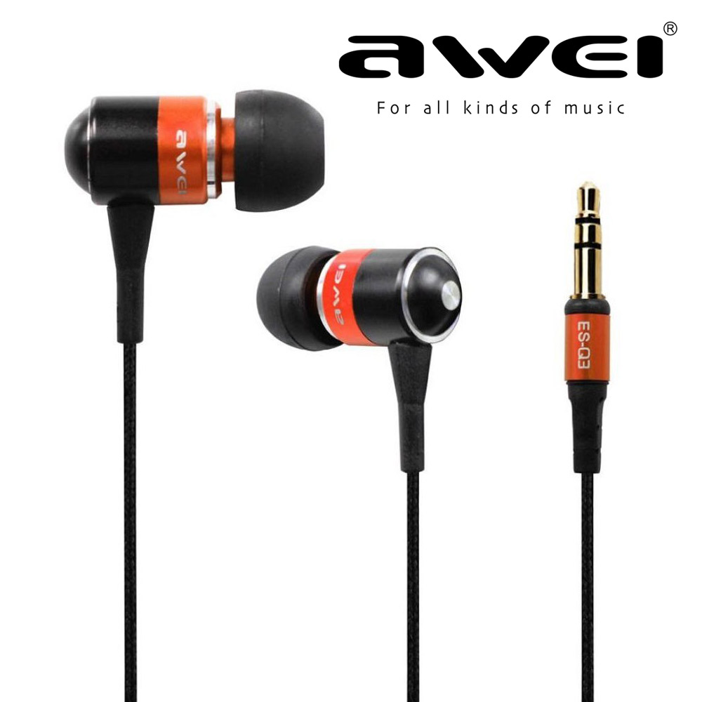 Stereo Earphone Awei Q3 With Gold-Plated Plug+Noise Reduction Earbuds+1.2m Earphones Wire 5 Colors For All Phones xiaomi iphone chrome oxide plated steel wire guide pulley for wire industry