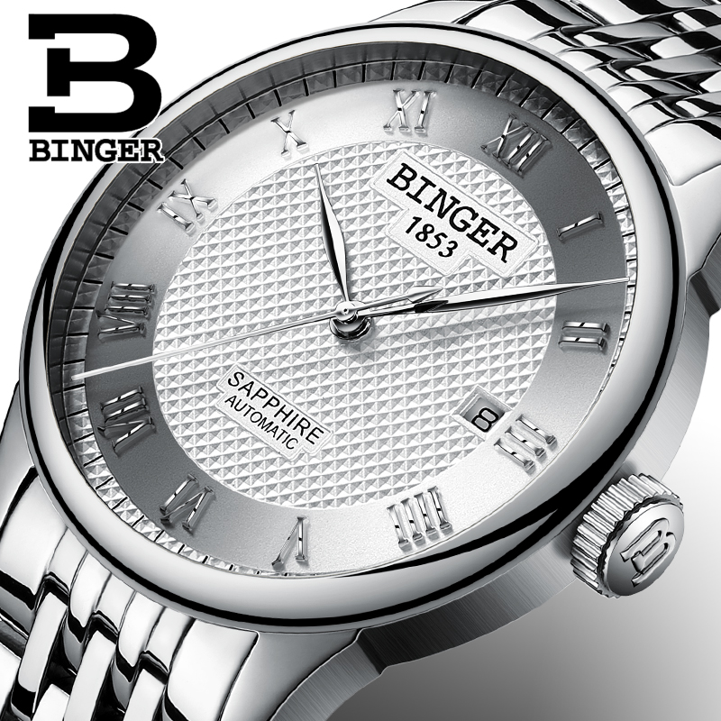 BINGER Mens Watches Top Brand Luxury Sapphire Self-wind Automatic Winding Mechanical Wristwatches relogio masculino Full Steel