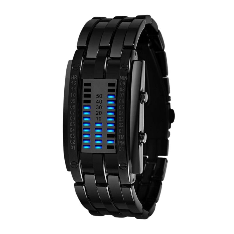 Hommes Femmes Noir Acier Inoxydable Date Numérique LED Bracelet de Sport Montres Technologie D'avenir Montre Binaire