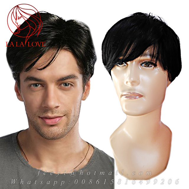 Fashion Handsome Men S Short Full Wig Hairpiece Tou Old Man Black Wigs 100 Human Real