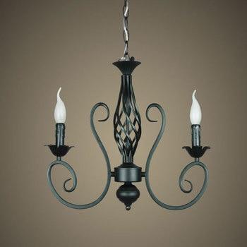Free Shipping!Rustic Wrought Iron Chandelier E14*2pcs LED Light Black Candelabra Vintage Antique Art Deco Sconce Pendant Lamp