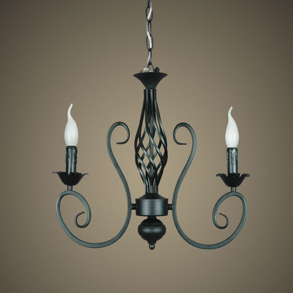 Tall wrought iron candle holders - Rustic Wrought Iron Chandelier E14 2pcs Led Light Black Candelabra Vintage Antique