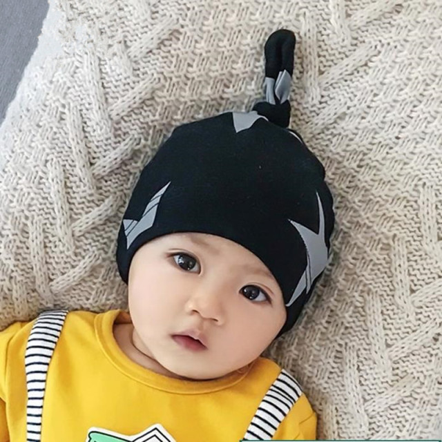 spring autumn with ear foldable infant baby beanies thin kids head wear accessories boys girls new fashion strip caps cotton hat