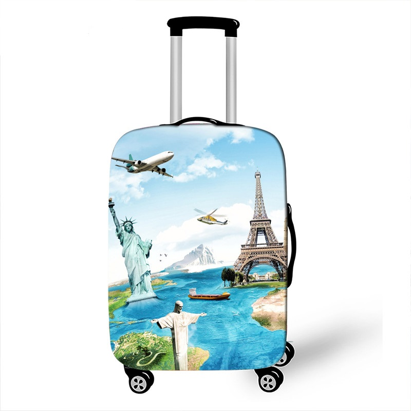 18-32 Inch Printed Map Travel Luggage Suitcase Cover Trolley Bag Protective Cover Men's  Women's Elastic Suitcase Cover