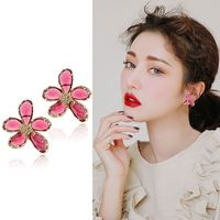 Fashion Personality Tricolor Crystal Earrings Exaggerated Large Ears Nail 925 Silver Pin Earrings