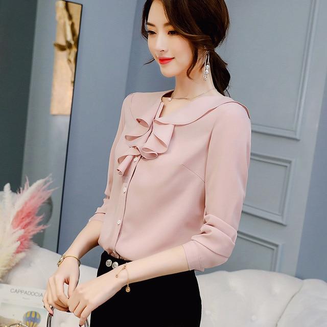 Women Ruffled Chiffon Blouses & Tops Female Slim Fit Long Sleeve Shirt Casual Loose Tops 4