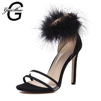 GENSHUO Fur Ankle Strap Sandals Shoes Women High Heels Black Red Wedding Party Sandals Transparent 10cm Big Size 41 42