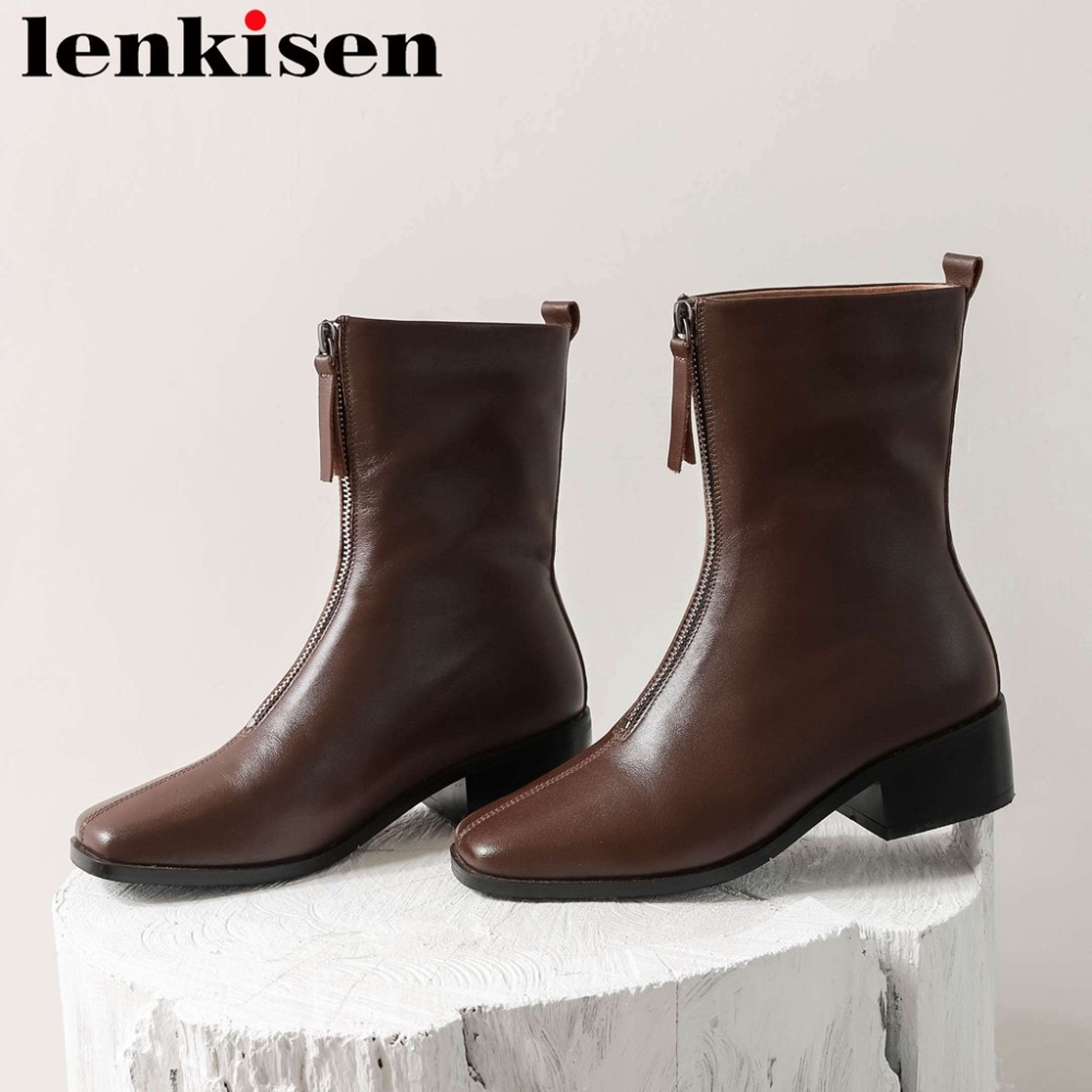 Lenkisen natural leather new design square toe thick med heels zipper classic square toe british dailywear western boots L49Lenkisen natural leather new design square toe thick med heels zipper classic square toe british dailywear western boots L49