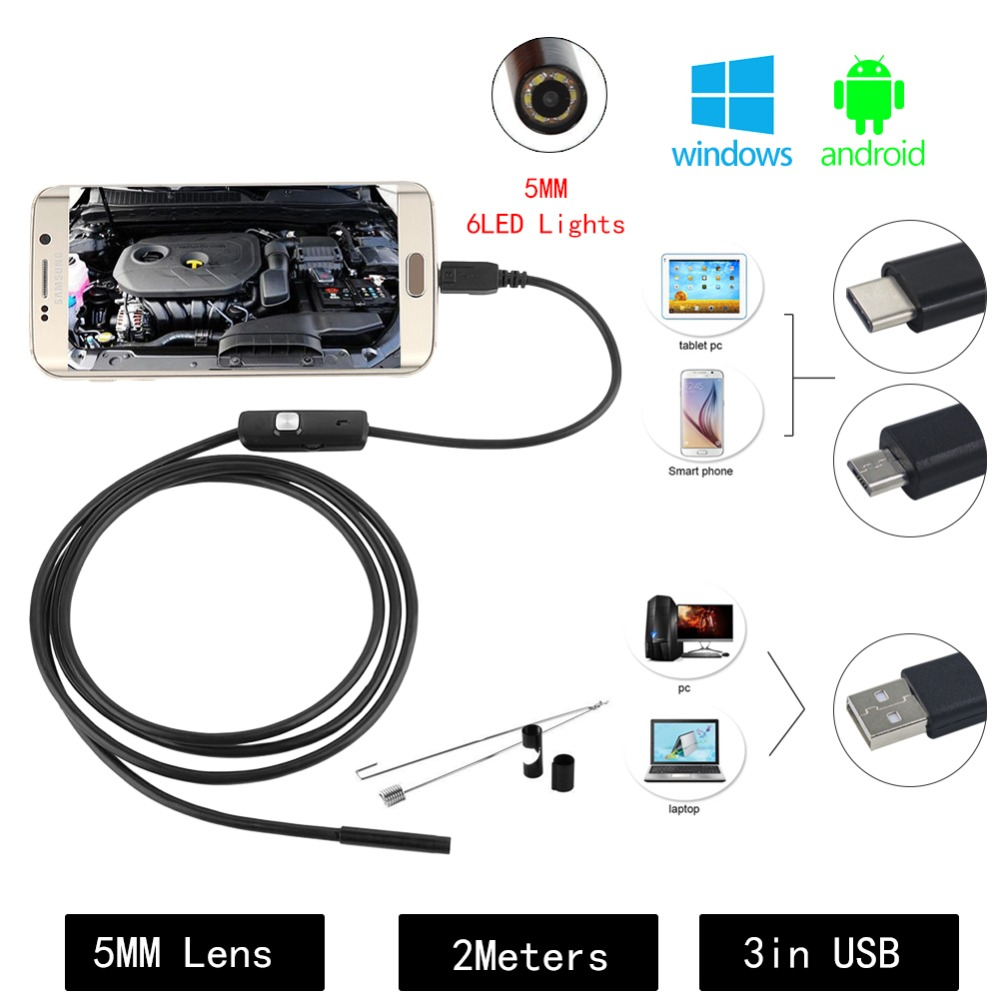 5.5mm USB Endoscope Camera 3 in 1 Android Endoscope With 6 LED 1/1.5/2m Waterproof Inspection Borescope For Android PC Type C