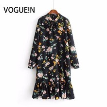 98cee77d0da7 VOGUEIN New Womens Black Floral Print Long Sleeve Ruffled Hem Mini Shift  Dress Wholesale(China