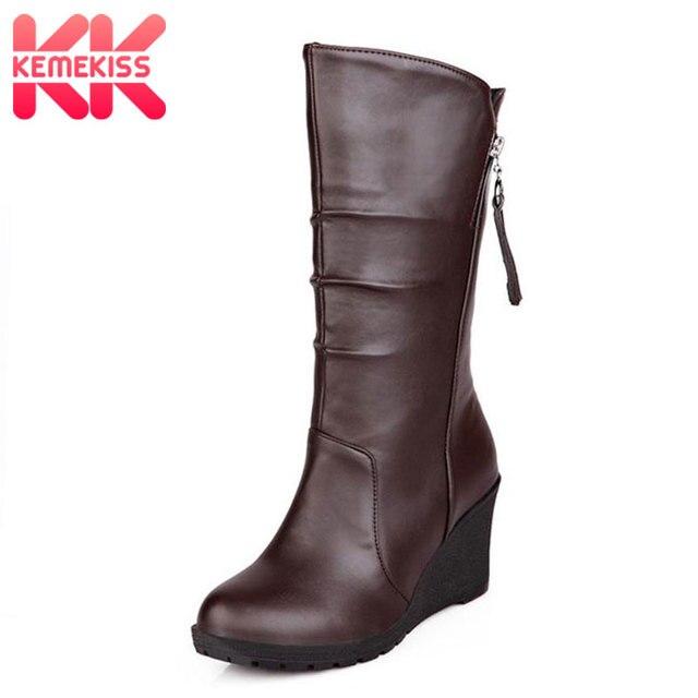 vente chaude en ligne 0a937 4d7ad KemeKiss grande taille 28 50 femmes bottes compensées demi court hiver  chaud en peluche de fourrure neige à talons hauts mode chaussures