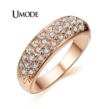 UMODE 18K Rose Gold / White Gold Plated Austrian Crystals Wedding Band Rings For Women Fashion Jewelry Wholesale Store AJR0084 zhouyang top quality zyh147 simple and noble rose gold color bracelet jewelry austrian crystals wholesale