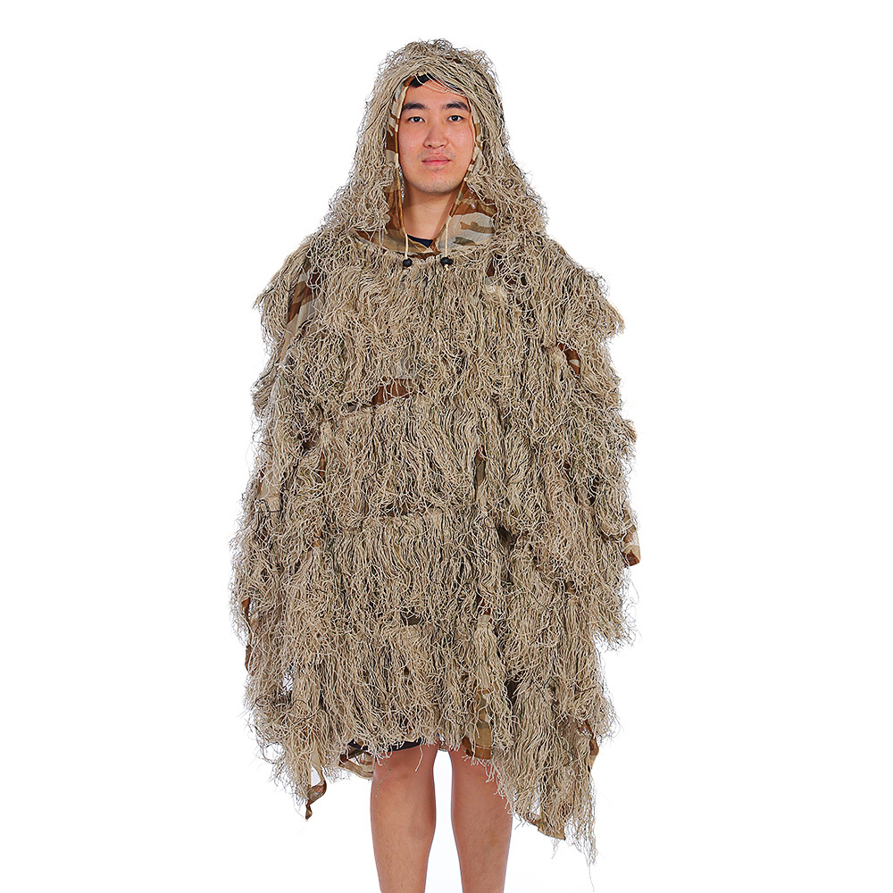 Outlife Camouflage Cloak Jungle Hunting Ghillie Suit Desert Woodland Sniper Birdwatching Poncho cs camouflage suits set bionic disguise uniform hunting woodland sniper ghillie suit hunting jungle military train cloth s049