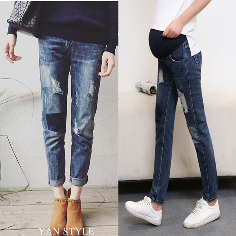 Scratch Stretch Denim Maternity Jeans Pregnant Women Spring Pencil Trousers Clothes Pregnancy Pants maternity Capris Jean YL504 liva girl spring women low waist sexy knee hole skinny jeans brand fashion pencil pants denim trousers plus size ripped jeans